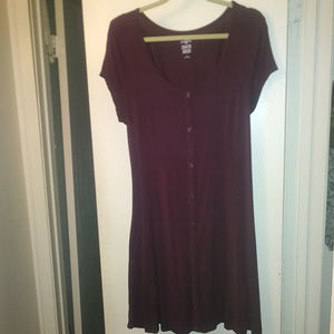 SKATER DRESS BURGUNDY LACEUP BACK FAUX BUTTON FRNT
